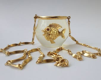 Goldfish Castlecliff Fish Bowl Lucite Pendant Necklace – 1970s Jewelry