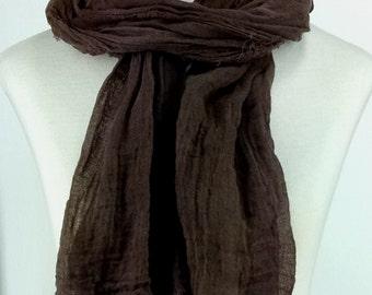 Dark Chocolate Brown Extra Long Gauze Scarf, Hand Dyed Scarf, Head Scarf, Shawl