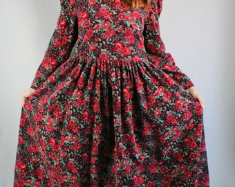 Vintage 80s Women's Rustic Fashion Red Black Floral Laura Ashley Fall Winter Long Sleeve Corduroy Country Boho Romantic Holiday Dress