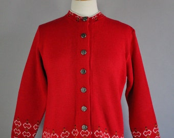 Vintage 60s 1960s Women's Lipstick Red Holiday Nordic Design Winter Rustic Fashion Office Cardigan Sweater