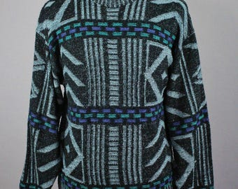 80s Tribal Sweater. Pullover Sweater. Multi Color Sweater. Vintage. Spring Fall. Medium. GOGOVINTAGE. FREE SHIPPING