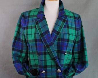 Vintage 80s Womens Scottish Tartan Wool Blazer Jacket, Clan Murray Tartan, Giorgio Sant Angelo, Designer, Size Medium