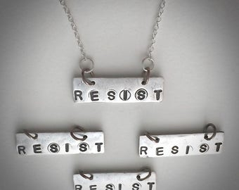 Resist necklace, resist jewelry, silver necklace, inspirational quote, quote jewelry, protest jewelry, women's march, charm, hand stamped