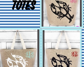 Personalized Beach Bag Lobster Tote