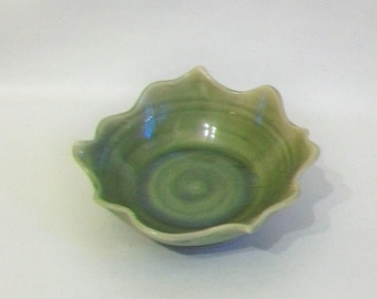 Candle Holder -  Trinket Dish - Wedding Favor -  Lovely Deep Green with a Carved  and Altered Rim