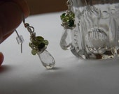 Custom order//Quartz earrings wire wrapped in peridot and tourmaline/grandchild birthstone earrings