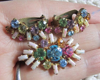 Vintage Made in Germany Demi-Parure Rainbow of Rhinestones and Milk Glass-  Epsteam - pin and earrings set - rhinestone set - 1940's jewelry