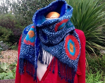Nuno felted viscose and wool scarf - nunofilz blue orange turquoise - ooak Fibre Fiber Art to Wear