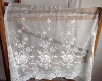 Antique Lace, Vintage Fabric/ Floral Embroidery Lace Panel. Vintage Wedding & Furnishing Projects Country Home