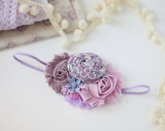 Plenty of Purple - shades of violet lavender orchid purple rosette and chiffon headband bow