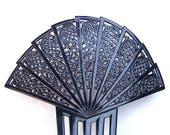Large Art Deco black celluloid Spanish style hair comb headpiece hair accessory hair ornament headdress