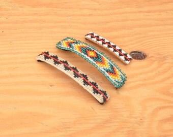Vintage 70's Leather Set Of Three Barrettes Diamond Zig Zag Pattern Beaded Indian Style Boho Hippie Look