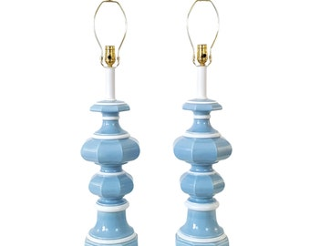 Pair Blue Ceramic Pagoda Lamps Mid-Century Asian Modern 1970s Candlestick