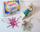 1989, 1990, 1995 Barbie Ornaments & Toys, McDonalds Toy in/out of Package, Starburst / Snowflake Ornaments, Collectible Lot Vintage Barbies