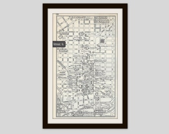 Richmond Virginia Map, City Map, Street Map, 1950s, Black and White, Retro Map Decor, City Street Grid, Historic Map