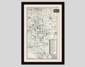 Dallas Texas Map, City Map, Street Map, 1950s, Black and White, Retro Map Decor, City Street Grid, Historic Map