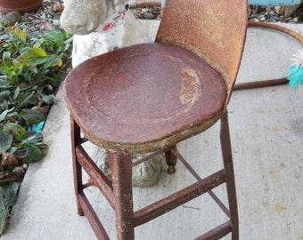 Vintage metal Stool Industrial rustic studio work drafting table stool chair children garage rusty metal salvage