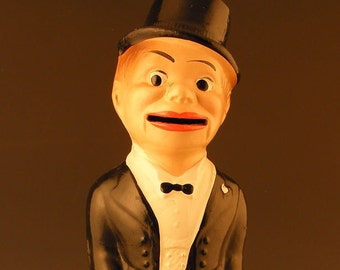 Vintage Bank - Charlie McCarthy -  Composition Bank - Ventriloquist Memorabilia - Figural Bank - Feed Me Save You Money
