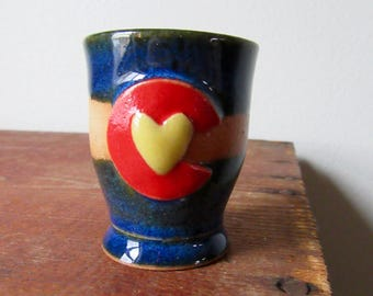 Rustic Colorado in my Heart Shot Glass - Ready to ship