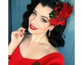 Christmas special deep red velvet poinsettia with amaryllis, holly, red and gold berries and apple pin up vintage rockabilly wedding bridal