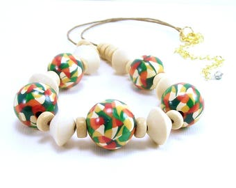 Multicolored Clay Beaded Necklace, Polymer Jewelry