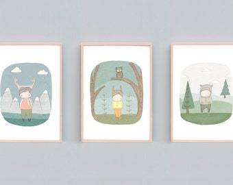 Small to Large Nursery Art Boy, Boys Room Decor, Kids Room Art Print Set, Boys Print Set, Woodland Nursery Bear Deer Owl, Bunny, Boy Poster