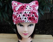 Summer Pussy Cat Hat, Red White & Pink PussyHat, 100% Cotton Lightweight Lace Crochet Knit Thin Warm Weather Beanie, Ready to Ship in 2 Days