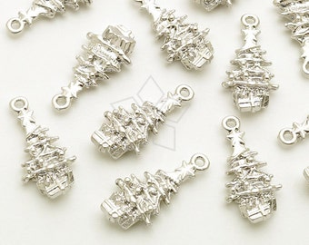 PD-1739-MS / 4 Pcs - Tiny Christmas Charms Series, Christmas Tree Charms Pendant, Matte Silver Plated over Pewter / 9mm x 18mm