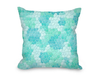 Throw Pillow Cover, decorative pillow, seafoam throw pillow with zipper, faux mosaic, turquoise modern decor, mint sofa pillow