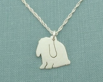 Lop Rabbit Necklace, Bunny Sterling Silver Personalize Pendant, Silhouette Charm, Rescue Shelter