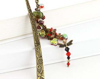 Floral Brass Bookmark - Red Crystal Dragonfly Charm, Iridescent Pansy and Czech Glass Leaves, Bling for Books, Journals or Sketchbooks