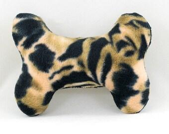 Wild Leopard Print Dog Bone Toy, Fleece Dog Bone Toy, Animal Print Dog Bone,