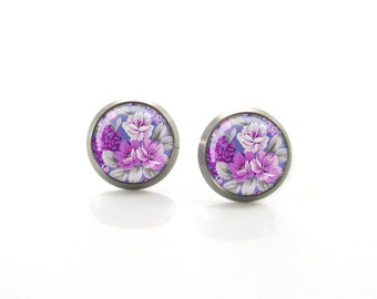 Violet Vintage Roses Purple Flower Titanium Post Earrings | Hypoallergenic Earring Stud | Titanium Earring Stud | Sensitive jewelry post