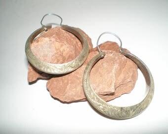 Navajo Hoop Earrings Chased Sterling Silver Earrings - Vintage Large Hoops Very Tribal And Hippie Chic