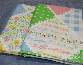 60s/70s Standard 2 Pillow Cases, Summer Pastels Checker Patch Pattern, Free Shipping