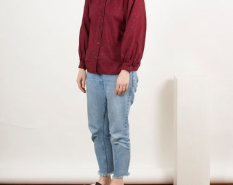 Paisley Burgundy Blouse / Long Sleeve Dark Red Shirt / Button Up Retro Shirt