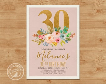 Dusty Pink 30th Birthday Invitation,  Vintage Birthday Invite, 21st, 30th, 40th, 50th, 60th, 70th. Neutral , Floral and Gold Invitation 3080