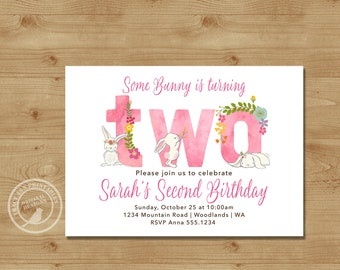 Second Birthday Invitation, Fun to be  Two , Girl second Birthday Invite |  Bunny Rabbit 2nd Birthday Digital | Printable  | 1516pink