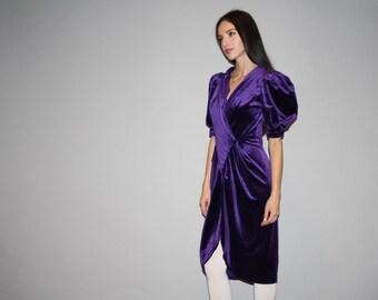 1980s Vintage Oversized Avant Garde Shoulder Purple Velvet Bodycon Party Dress - Velvet Dress - Vintage Purple Dresses   - W00132