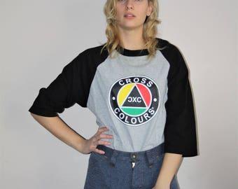 90s Vintage Cross Colours Athletic Ringer Raglan T Shirt - 1990s T Shirts - 90s Clothing - WV0043