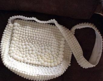 Vintage 1960s 1970s Handbag Purse Shoulder Bag Designed By Roger Von S White Plastic Beads Made In Hong Kong