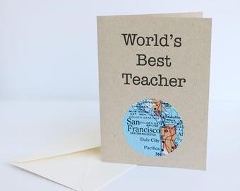 World's Best Teacher Greeting Card - Custom Map - Made to Order Mini Kraft Card