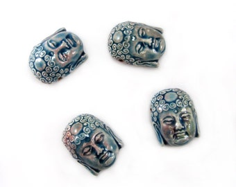 Peruvian Ceramic Raku Buddha Head Beads
