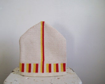 Vintage wool ski cap Wigwam Mills Nordic style double knit cream with red yellow stripes stocking cap Free shipping to USA