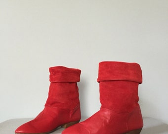 SALE...lipstick red leather and suede boots | foldover pirate boots | 6.5