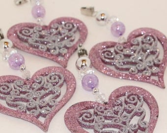 Glittered Heart Filigree Tablecloth Weights Set of 4