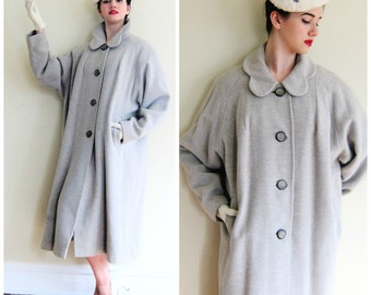 Vintage 1950s Grey Wool Swing Coat / 50s Oatmeal A Line Button Down Coat / XL Plus