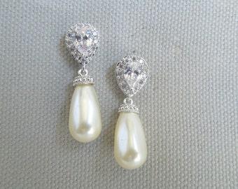 bridal earrings, pearl bridal earrings, bridal stud earrings, rhinestone stud earrings, wedding pearl earrings, crystal earrings, MILA
