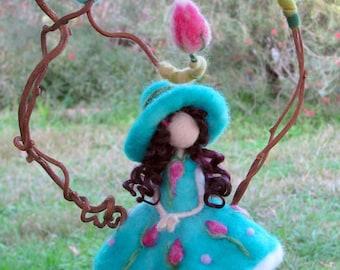 Needle felted Fairy Art doll Waldorf inspired Magic fairy Mobile Nursery decor Fantasy mobile