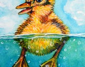 Duckling Swimming original painting - 9 Duck Pond